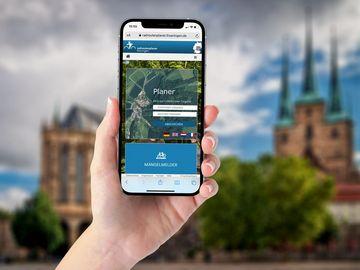 Radroutenplaner Thüringen auf einem Smartphone