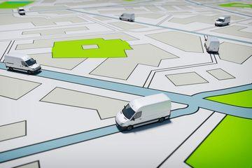 Symbolisches Bild: Straßenkarte bzw. Stadtplan mit Spielzeugautos