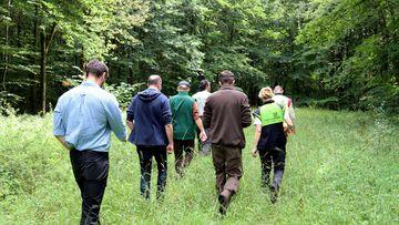 Staatssekretär Torsten Weil läuft mit mehreren Personen im Jenaer Stadtwald über einen mit hohen Gras bewachsenen Weg.