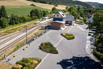 Aus der Himmelperspektive - Blick auf Bahnhof Rottenbach