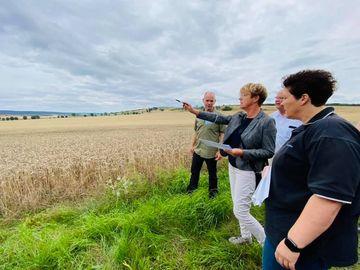 Vier Personen stehen am Rand eines Getreidefeldes. Eine Person zeigt mit gehobenen Arm Richtung Feld und erklärt den anderen etwas.