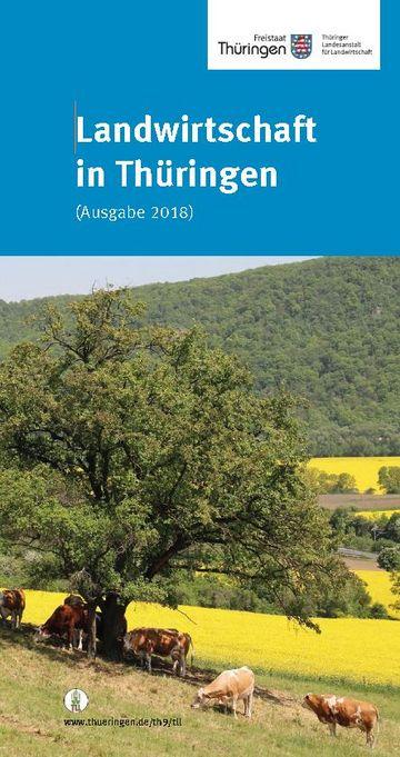 Titelseite Broschüre Landwirtschaft in Thüringen - Landschaftsbild mit Baum und Tieren in Vordergrund, Feld, Waldrand im Hintergrund