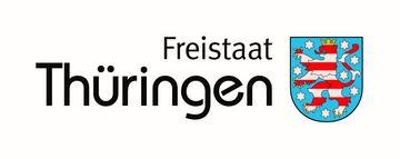 Wortbildmarke mit Schriftzug Freistaat Thüringen und Thüringer Wappen